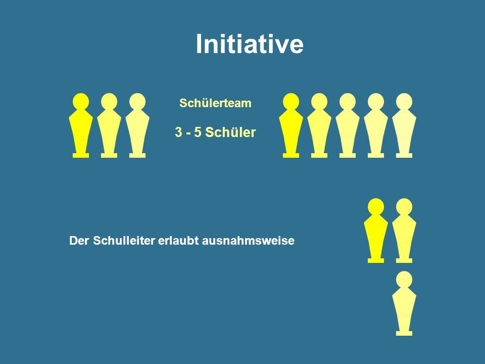Initiative Schülerteam 3 - 5 Schüler Der Schulleiter erlaubt ausnahmsweise