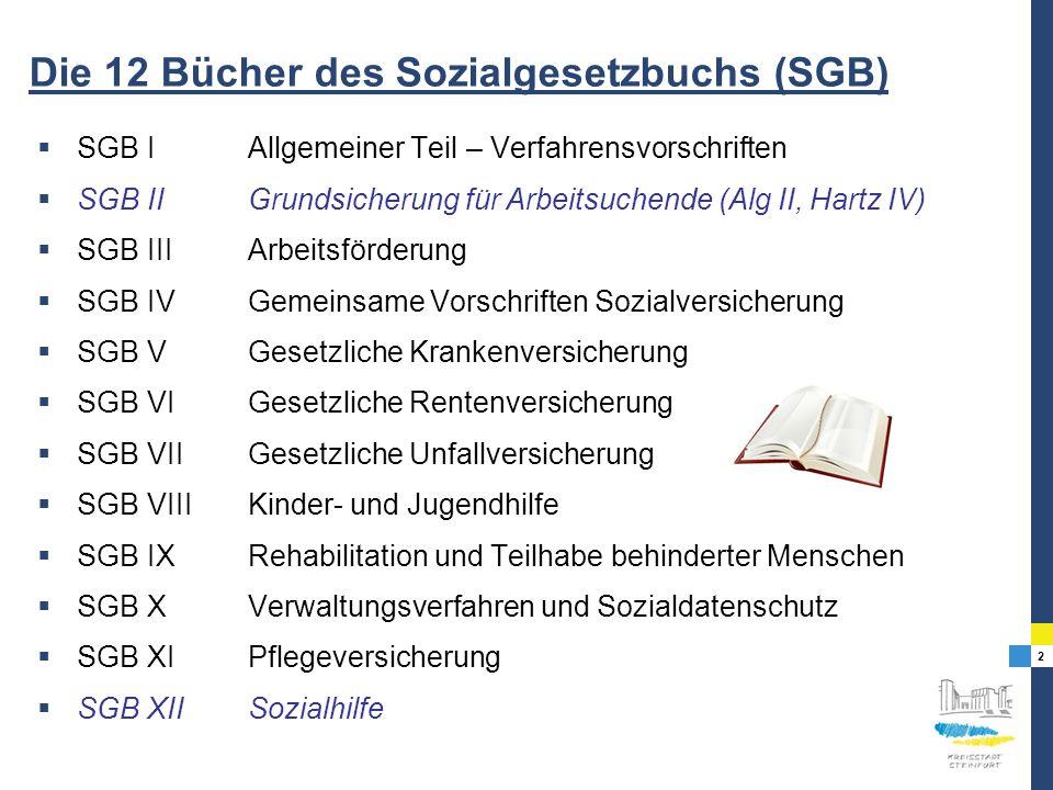 2 Die 12 Bücher des Sozialgesetzbuchs (SGB) SGB IAllgemeiner Teil – Verfahrensvorschriften SGB IIGrundsicherung für Arbeitsuchende (Alg II, Hartz IV)