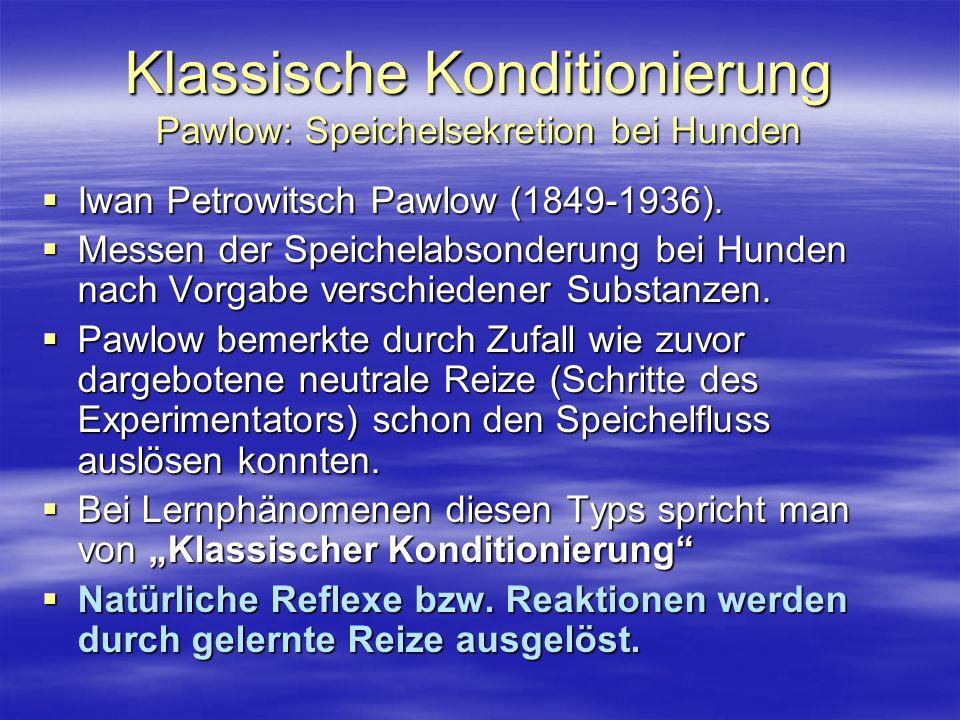 Klassische Konditionierung Pawlow: Speichelsekretion bei Hunden Iwan Petrowitsch Pawlow (1849-1936). Iwan Petrowitsch Pawlow (1849-1936). Messen der S