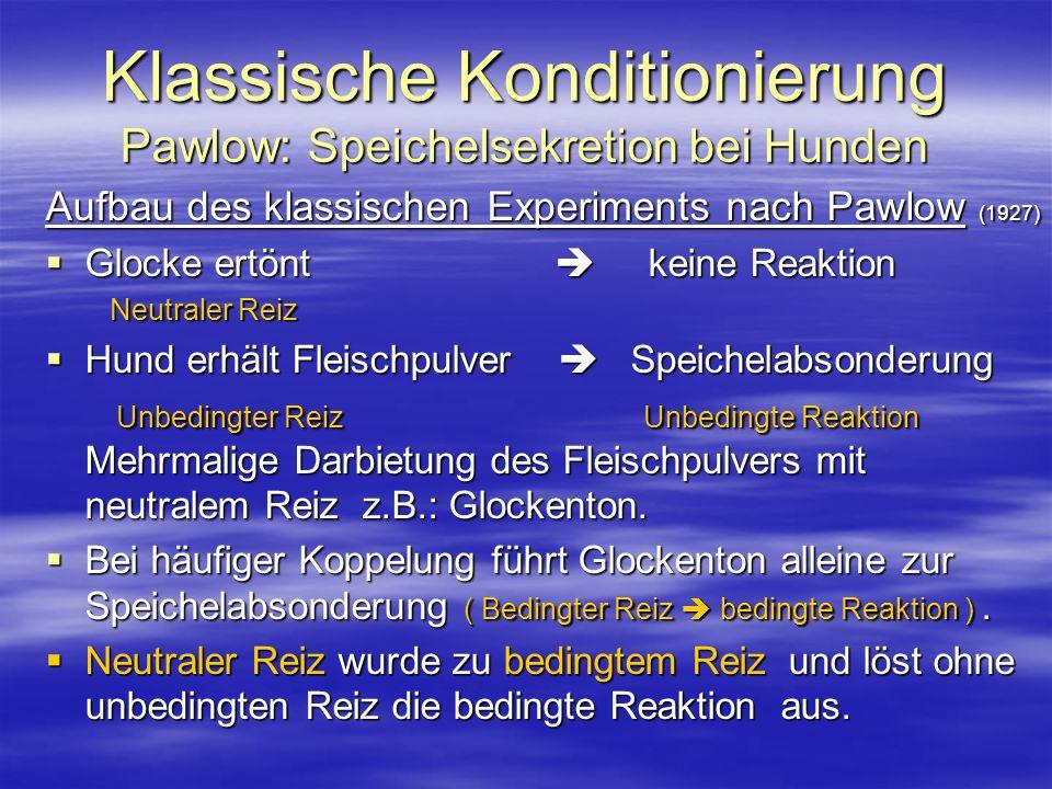 Klassische Konditionierung Pawlow: Speichelsekretion bei Hunden Aufbau des klassischen Experiments nach Pawlow (1927) Glocke ertönt keine Reaktion Glo