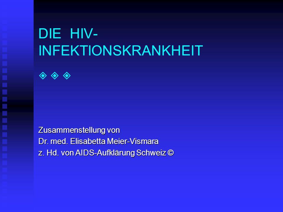 DIE HIV- INFEKTIONSKRANKHEIT Zusammenstellung von Dr. med. Elisabetta Meier-Vismara z. Hd. von AIDS-Aufklärung Schweiz ©