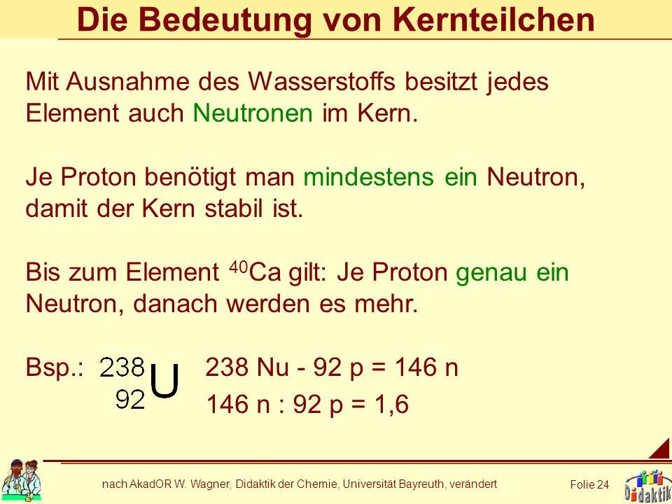 nach AkadOR W. Wagner, Didaktik der Chemie, Universität Bayreuth, verändert Folie 24 Die Bedeutung von Kernteilchen Je Proton benötigt man mindestens