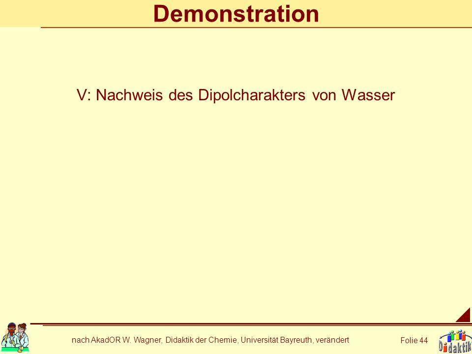 nach AkadOR W. Wagner, Didaktik der Chemie, Universität Bayreuth, verändert Folie 44 Demonstration V: Nachweis des Dipolcharakters von Wasser