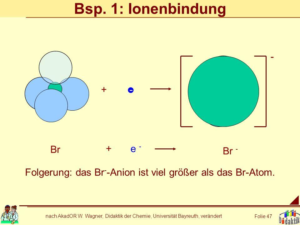 nach AkadOR W. Wagner, Didaktik der Chemie, Universität Bayreuth, verändert Folie 47 Bsp. 1: Ionenbindung + - Br Br - e - + - Folgerung: das Br - -Ani