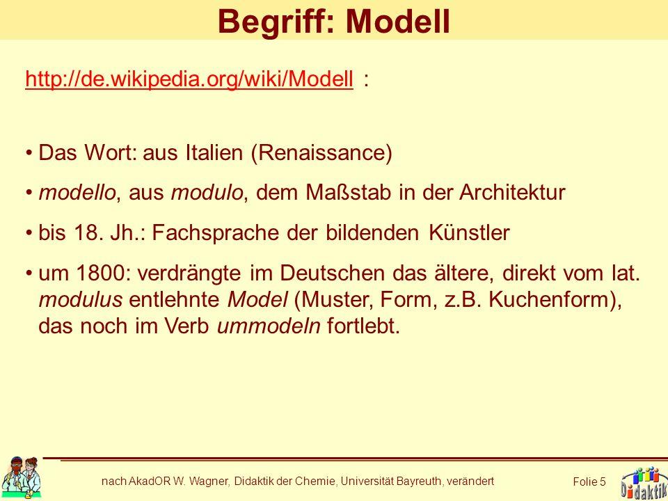 nach AkadOR W. Wagner, Didaktik der Chemie, Universität Bayreuth, verändert Folie 5 Begriff: Modell http://de.wikipedia.org/wiki/Modellhttp://de.wikip