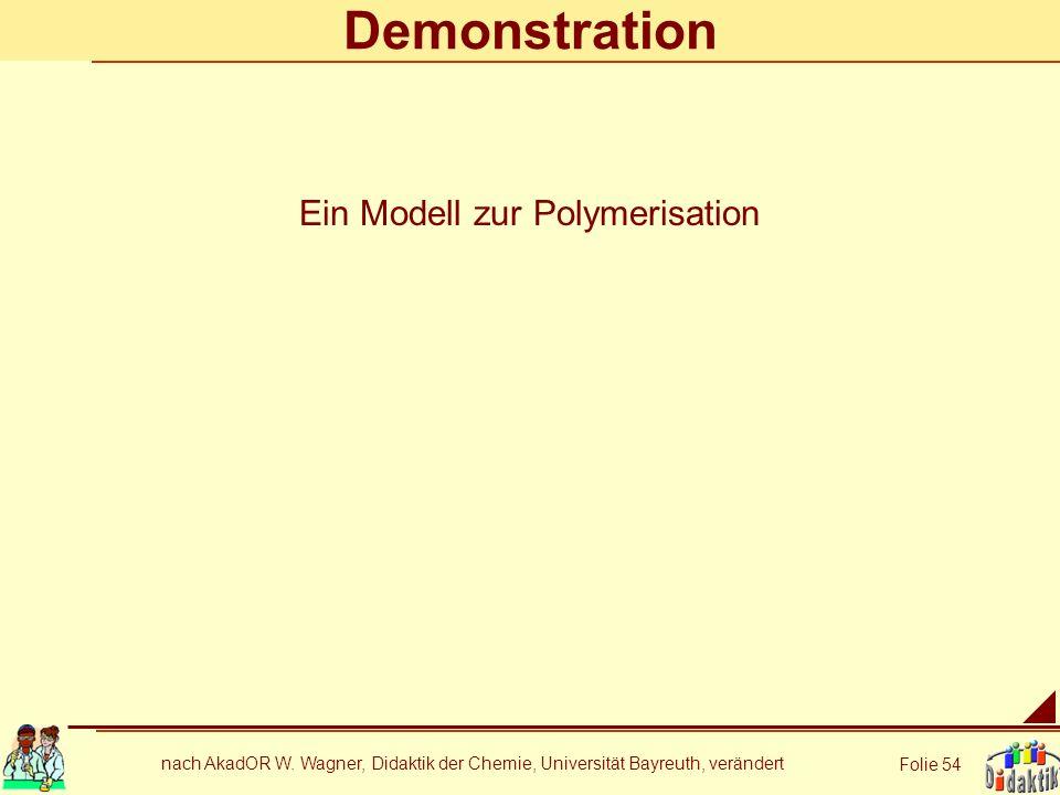 nach AkadOR W. Wagner, Didaktik der Chemie, Universität Bayreuth, verändert Folie 54 Demonstration Ein Modell zur Polymerisation