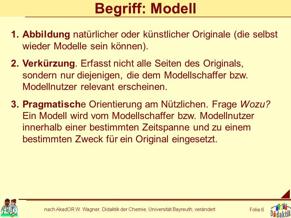 nach AkadOR W. Wagner, Didaktik der Chemie, Universität Bayreuth, verändert Folie 6 Begriff: Modell 1.Abbildung natürlicher oder künstlicher Originale