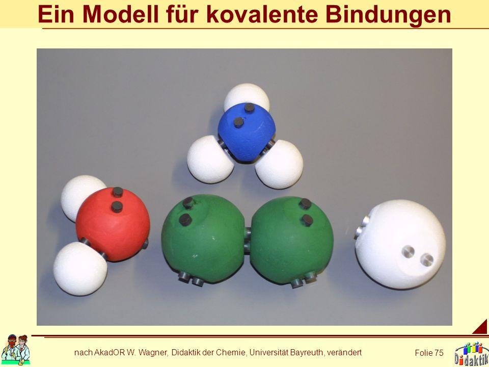 nach AkadOR W. Wagner, Didaktik der Chemie, Universität Bayreuth, verändert Folie 75 Ein Modell für kovalente Bindungen
