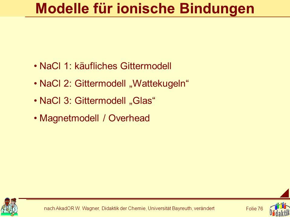 nach AkadOR W. Wagner, Didaktik der Chemie, Universität Bayreuth, verändert Folie 76 Modelle für ionische Bindungen NaCl 1: käufliches Gittermodell Na