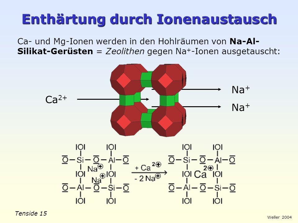 Tenside 15 Weller 2004 Na + Enthärtung durch Ionenaustausch Ca- und Mg-Ionen werden in den Hohlräumen von Na-Al- Silikat-Gerüsten = Zeolithen gegen Na