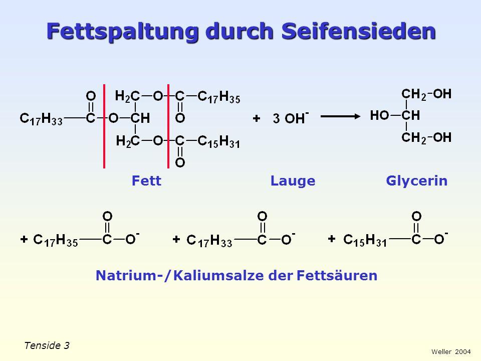 Tenside 3 Weller 2004 Fettspaltung durch Seifensieden FettLaugeGlycerin Natrium-/Kaliumsalze der Fettsäuren