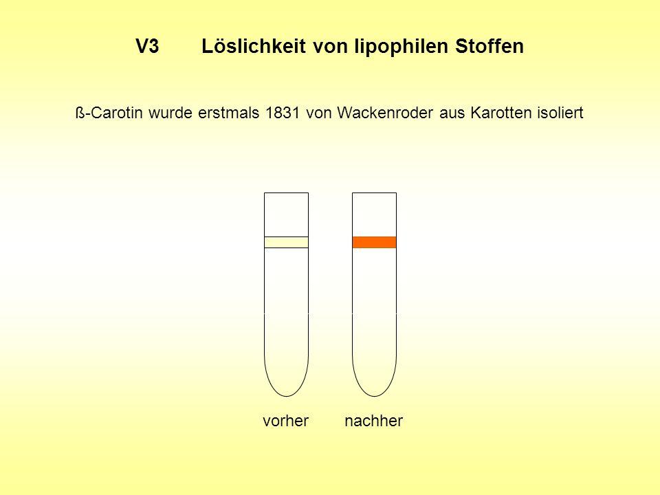 V3Löslichkeit von lipophilen Stoffen ß-Carotin wurde erstmals 1831 von Wackenroder aus Karotten isoliert vorhernachher
