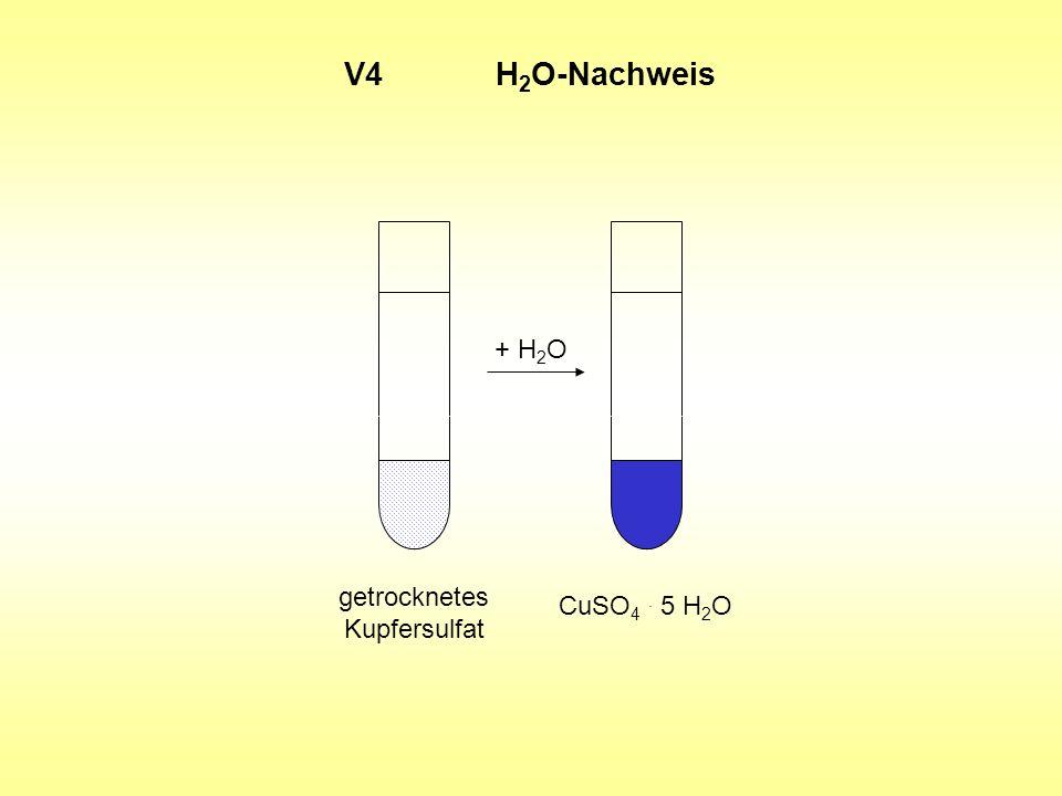V4 H 2 O-Nachweis getrocknetes Kupfersulfat CuSO 4. 5 H 2 O + H 2 O