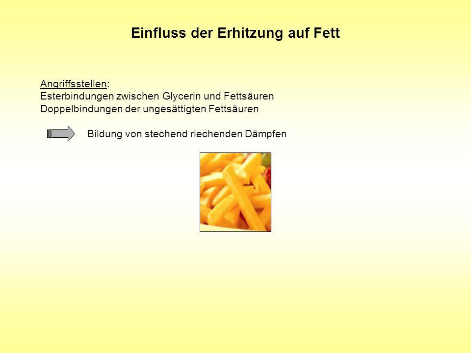 Einfluss der Erhitzung auf Fett Angriffsstellen: Esterbindungen zwischen Glycerin und Fettsäuren Doppelbindungen der ungesättigten Fettsäuren Bildung