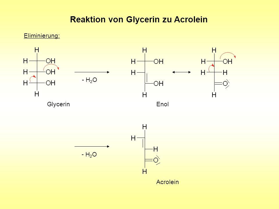 Reaktion von Glycerin zu Acrolein Eliminierung: - H 2 O Acrolein Glycerin - H 2 O Enol