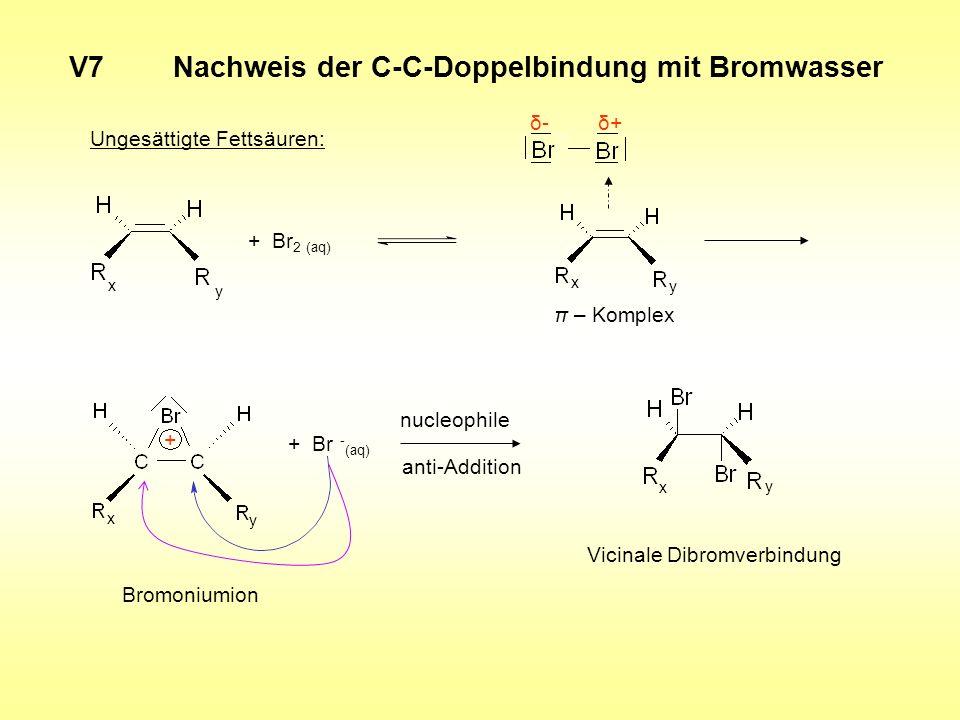 V7 Nachweis der C-C-Doppelbindung mit Bromwasser Ungesättigte Fettsäuren: + Br 2 (aq) δ+δ- π – Komplex x y x y + Br - (aq) nucleophile anti-Addition V