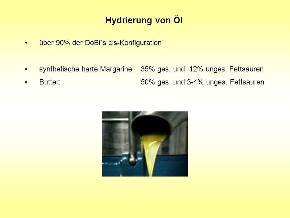 Hydrierung von Öl über 90% der DoBi´s cis-Konfiguration synthetische harte Margarine: 35% ges. und 12% unges. Fettsäuren Butter: 50% ges. und 3-4% ung