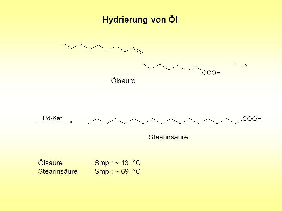 Hydrierung von Öl Ölsäure + H 2 Stearinsäure Pd-Kat ÖlsäureSmp.: ~ 13 °C StearinsäureSmp.: ~ 69 °C