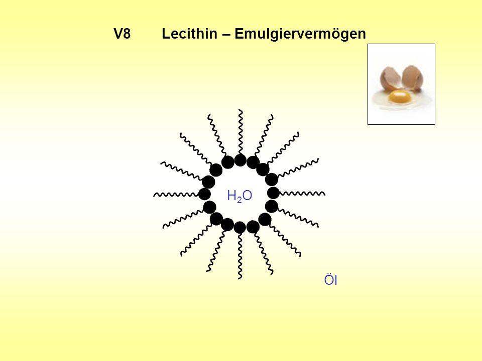 V8Lecithin – Emulgiervermögen Öl H2OH2O