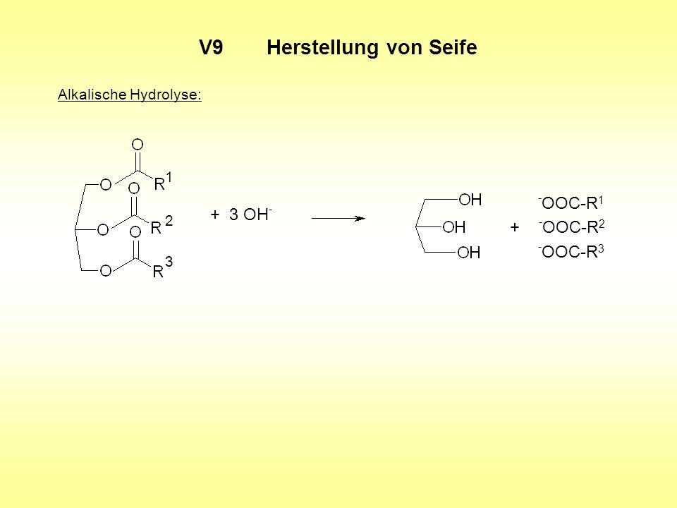 V9Herstellung von Seife Alkalische Hydrolyse: + 3 OH - - OOC-R 1 + - OOC-R 2 - OOC-R 3 1 2 3