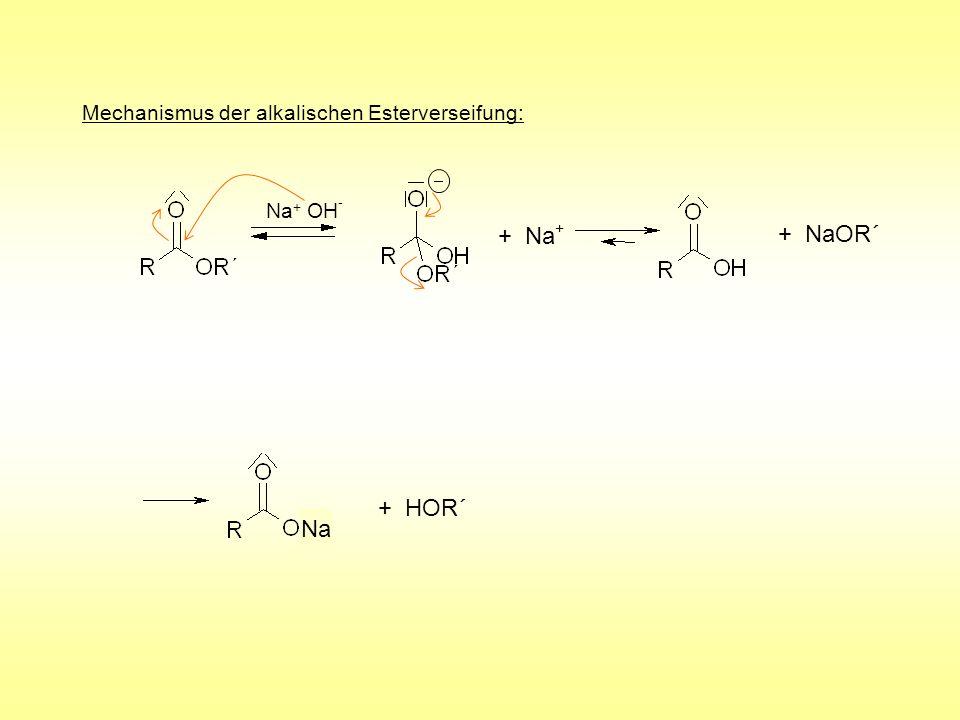 Mechanismus der alkalischen Esterverseifung: + Na + + NaOR´ + HOR´ Na + OH - Na
