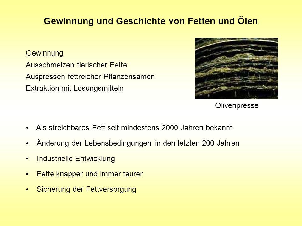 Gewinnung und Geschichte von Fetten und Ölen Als streichbares Fett seit mindestens 2000 Jahren bekannt Änderung der Lebensbedingungen in den letzten 2