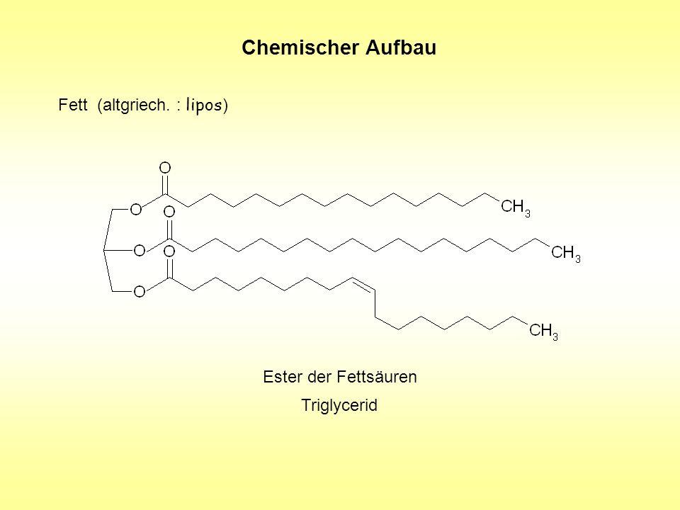 Chemischer Aufbau Fett (altgriech. : lipos ) Ester der Fettsäuren Triglycerid