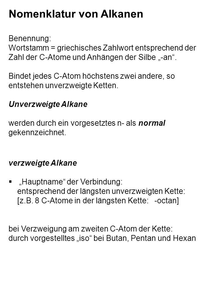 Nomenklatur von Alkanen Benennung: Wortstamm = griechisches Zahlwort entsprechend der Zahl der C-Atome und Anhängen der Silbe -an.