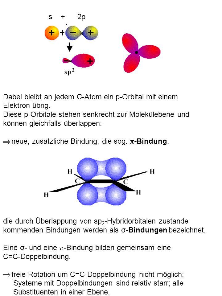 Dabei bleibt an jedem C-Atom ein p-Orbital mit einem Elektron übrig.