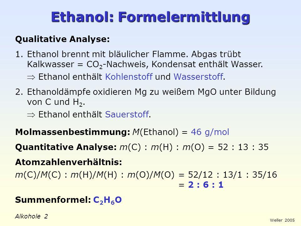 Weller 2005 Alkohole 3 Ethanol: Molekülstruktur Mögliche Strukturformeln: Entscheidung über zutreffende Ethanol-Struktur: Ethanol reagiert mit Natrium ähnlich wie Wasser unter Bildung von Wasserstoff und einem salzartigen Produkt: 2 C 2 H 6 O + 2 Na 2 [C 2 H 5 O - Na + ] + H 2 Da Natrium keine C-H-Bindungen spalten kann, kommt nur Struktur I infrage, da hier wie bei Wasser eine O-H-Bindung vorliegt.