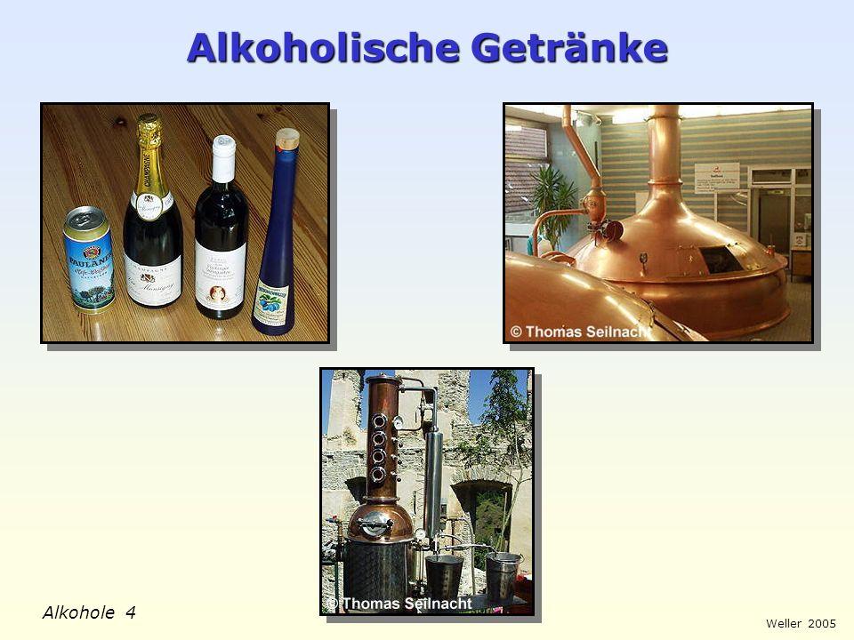 Weller 2005 Alkohole 15 Molekülstruktur und Löslichkeit Heptan-1-ol Ethanol mischbar X nicht mischbar X mischbar unpolar, hydrophob polar, hydrophil Heptan Wasser polar, hydrophil