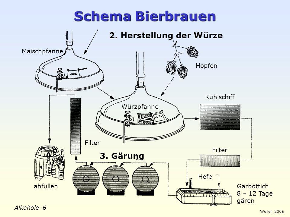 Weller 2005 Alkohole 6 Schema Bierbrauen 2. Herstellung der Würze Maischpfanne Würzpfanne Hopfen Kühlschiff Filter Gärbottich 8 – 12 Tage gären Hefe 3