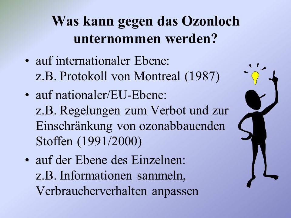 Was kann gegen das Ozonloch unternommen werden.auf internationaler Ebene: z.B.