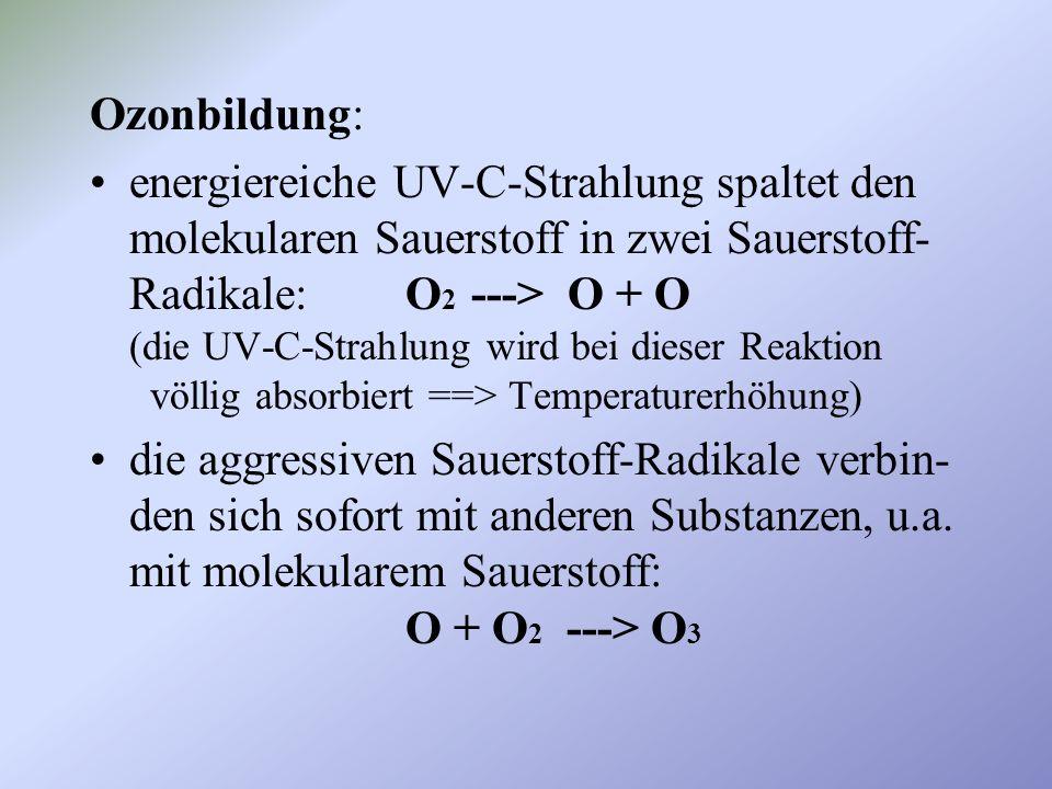 Ozonabbau: energieärmere UV-B-Strahlung spaltet Ozon in molekularen Sauerstoff und ein Sauerstoff-Radikal: O 3 ---> O 2 + O (die UV-B-Strahlung wird bei dieser Reaktion teilweise absorbiert)