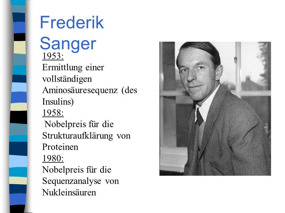 Frederik Sanger 1953: Ermittlung einer vollständigen Aminosäuresequenz (des Insulins) 1958: Nobelpreis für die Strukturaufklärung von Proteinen 1980: Nobelpreis für die Sequenzanalyse von Nukleinsäuren