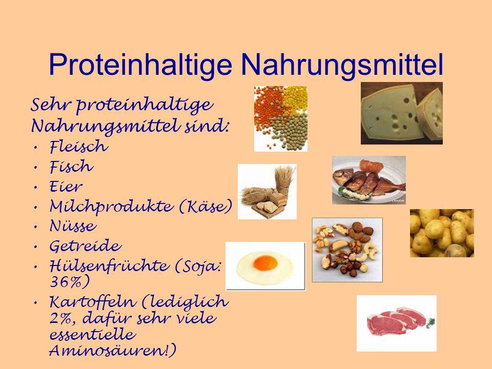 Proteinhaltige Nahrungsmittel Sehr proteinhaltige Nahrungsmittel sind: Fleisch Fisch Eier Milchprodukte (Käse) Nüsse Getreide Hülsenfrüchte (Soja: 36%
