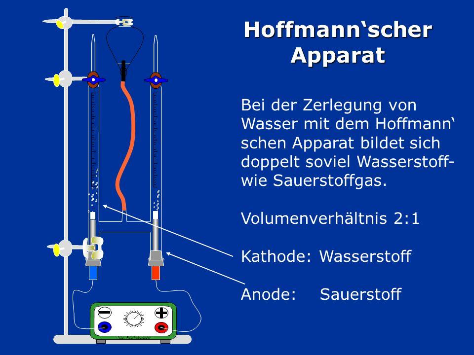 Hoffmannscher Apparat Autor: Peter Maisenbacher Bei der Zerlegung von Wasser mit dem Hoffmann schen Apparat bildet sich doppelt soviel Wasserstoff- wie Sauerstoffgas.