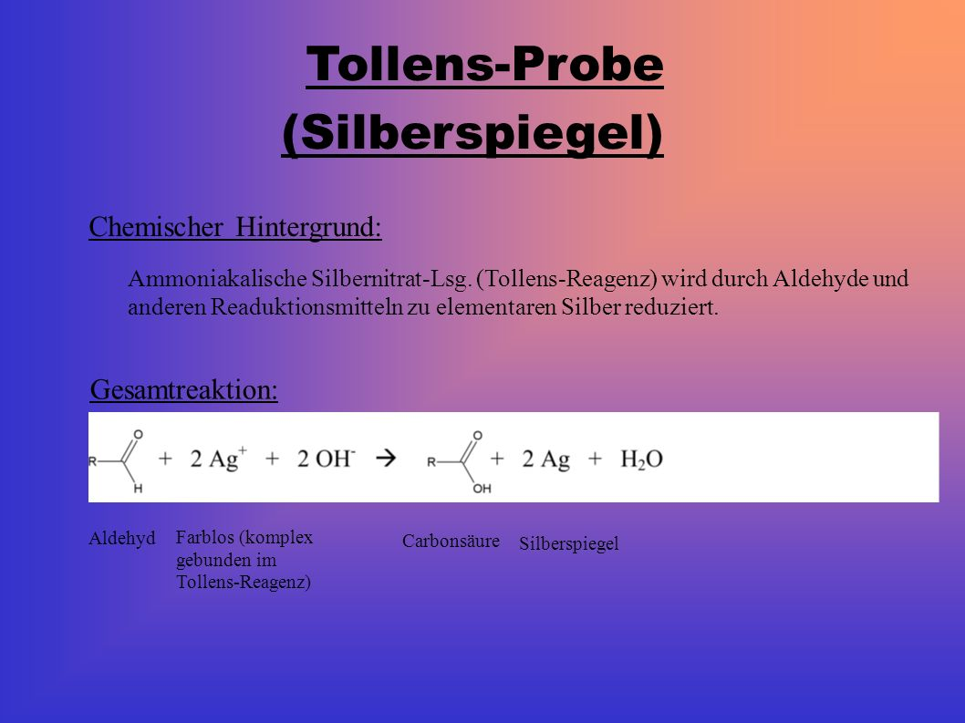 Tollens-Probe (Silberspiegel) Chemischer Hintergrund: Ammoniakalische Silbernitrat-Lsg.