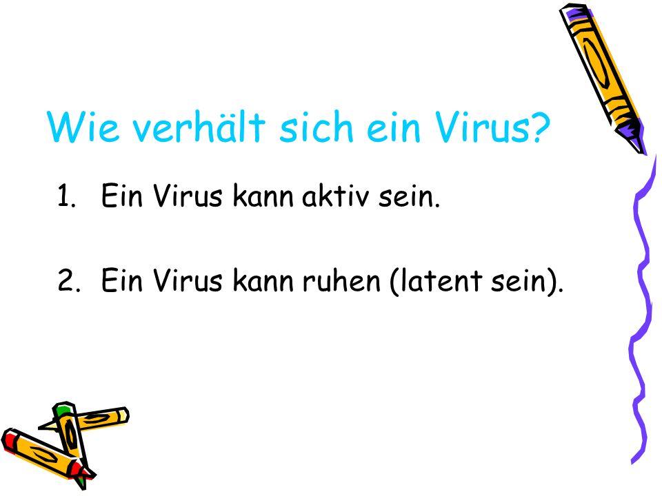 Aktives Virus 1.Andocken: Ein spezifisches Virus heftet sich an eine spezifische Zelle.