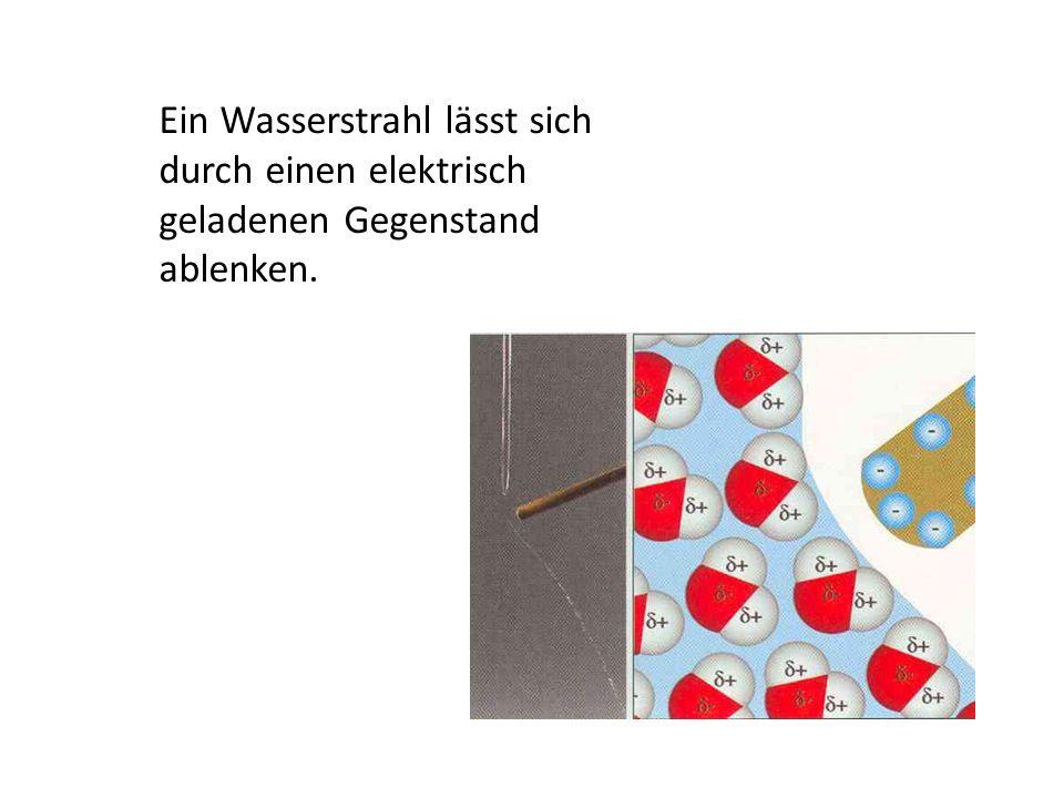 Wassermoleküle bilden Wasserstoffbrücken (Wasserstoffbrückenbindung)