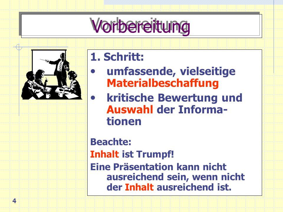 5 Vorbereitung 2.Schritt: Gliederung: - Einstieg (Thema, Überblick, evtl.