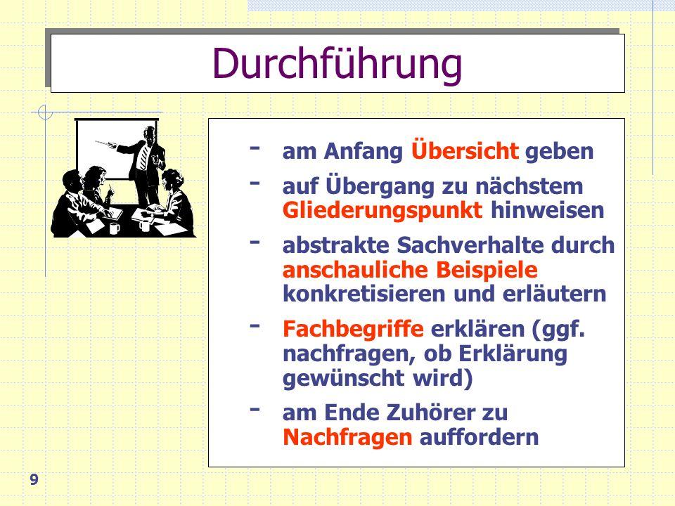 9 - am Anfang Übersicht geben - auf Übergang zu nächstem Gliederungspunkt hinweisen - abstrakte Sachverhalte durch anschauliche Beispiele konkretisieren und erläutern - Fachbegriffe erklären (ggf.