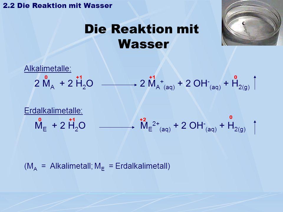 Die Reaktion mit Wasser Alkalimetalle: 2 M A + 2 H 2 O 2 M A + (aq) + 2 OH - (aq) + H 2(g) Erdalkalimetalle: M E + 2 H 2 O M E 2+ (aq) + 2 OH - (aq) +