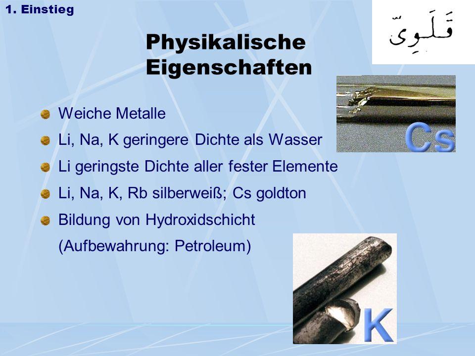 Physikalische Eigenschaften Weiche Metalle Li, Na, K geringere Dichte als Wasser Li geringste Dichte aller fester Elemente Li, Na, K, Rb silberweiß; C