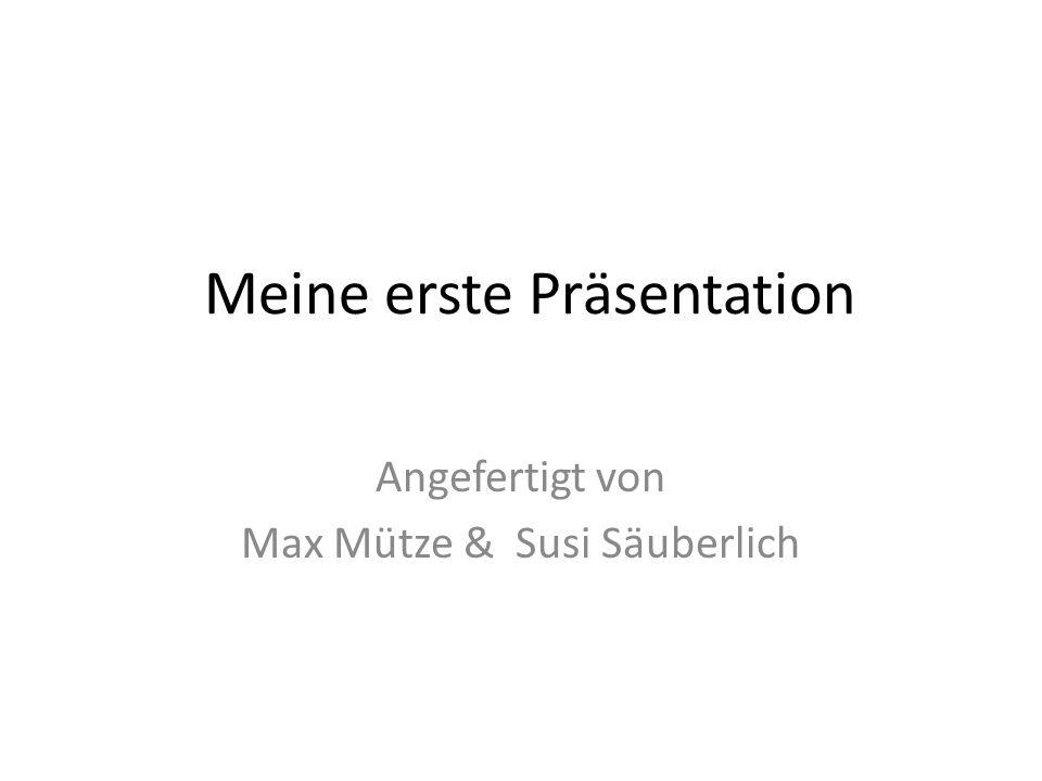 Meine erste Präsentation Angefertigt von Max Mütze & Susi Säuberlich