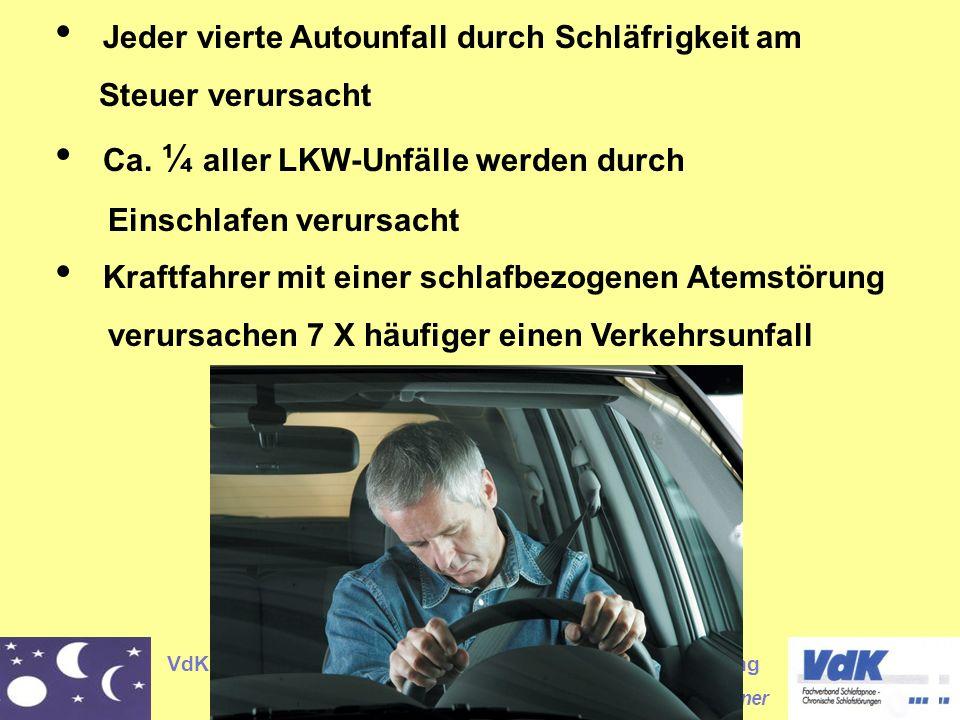 VdK- Fachverband Schlafapnoe Chronische Schlafstörung Reinhard Wagner Jeder vierte Autounfall durch Schläfrigkeit am Steuer verursacht Ca.