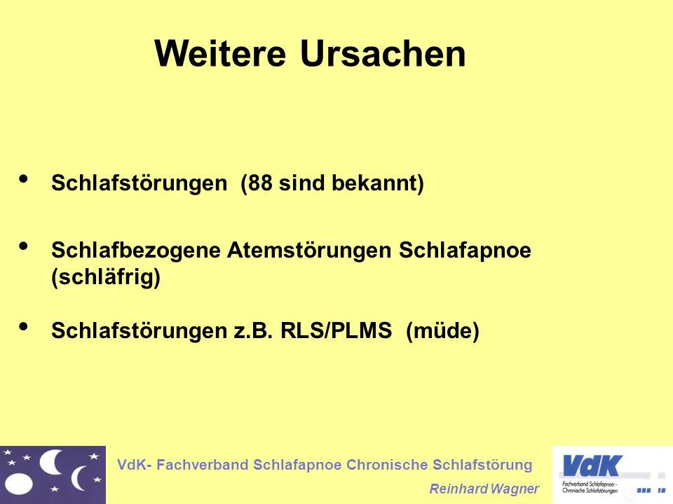 VdK- Fachverband Schlafapnoe Chronische Schlafstörung Reinhard Wagner Weitere Ursachen Schlafstörungen (88 sind bekannt) Schlafbezogene Atemstörungen Schlafapnoe (schläfrig) Schlafstörungen z.B.