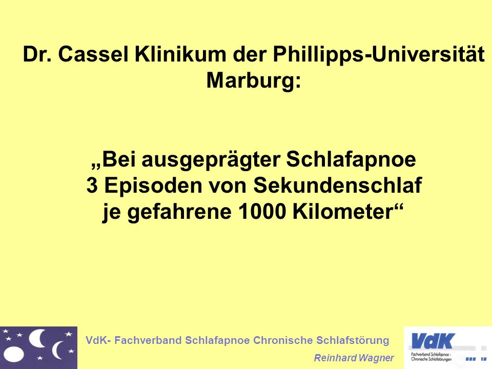 VdK- Fachverband Schlafapnoe Chronische Schlafstörung Reinhard Wagner Dr.