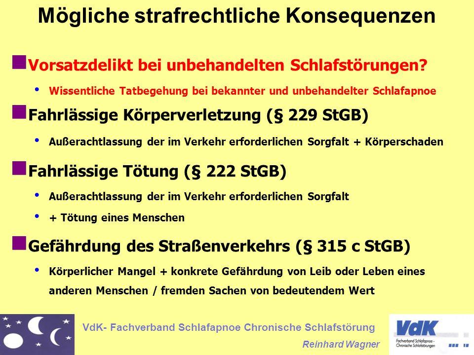 VdK- Fachverband Schlafapnoe Chronische Schlafstörung Reinhard Wagner Vorsatzdelikt bei unbehandelten Schlafstörungen.