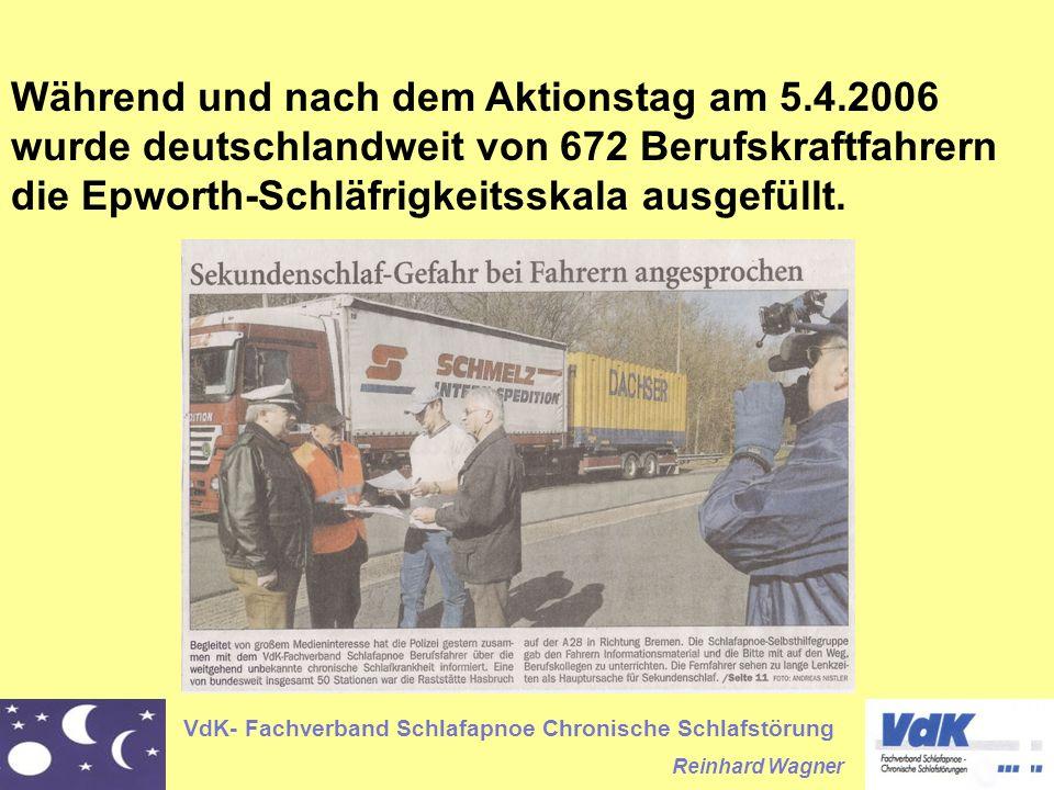 VdK- Fachverband Schlafapnoe Chronische Schlafstörung Reinhard Wagner Während und nach dem Aktionstag am 5.4.2006 wurde deutschlandweit von 672 Berufskraftfahrern die Epworth-Schläfrigkeitsskala ausgefüllt.